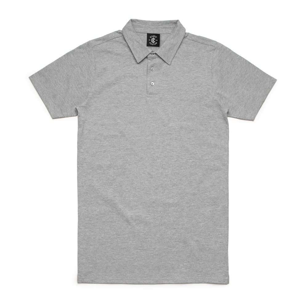 Fabric: – 100% Combed Cotton Jersey Weight: – 220 g/m2 Sizes: – S, M, L, XL, 2XL, 3XL Colours: Black, Grey Marle, Navy, White - 100% combed cotton preshrunk jersey knit (marles 15% polyester) - Short sleeve collared polo shirt - 3 Button Placket - Split side detail - Illicit Custom Label - Regular Fit