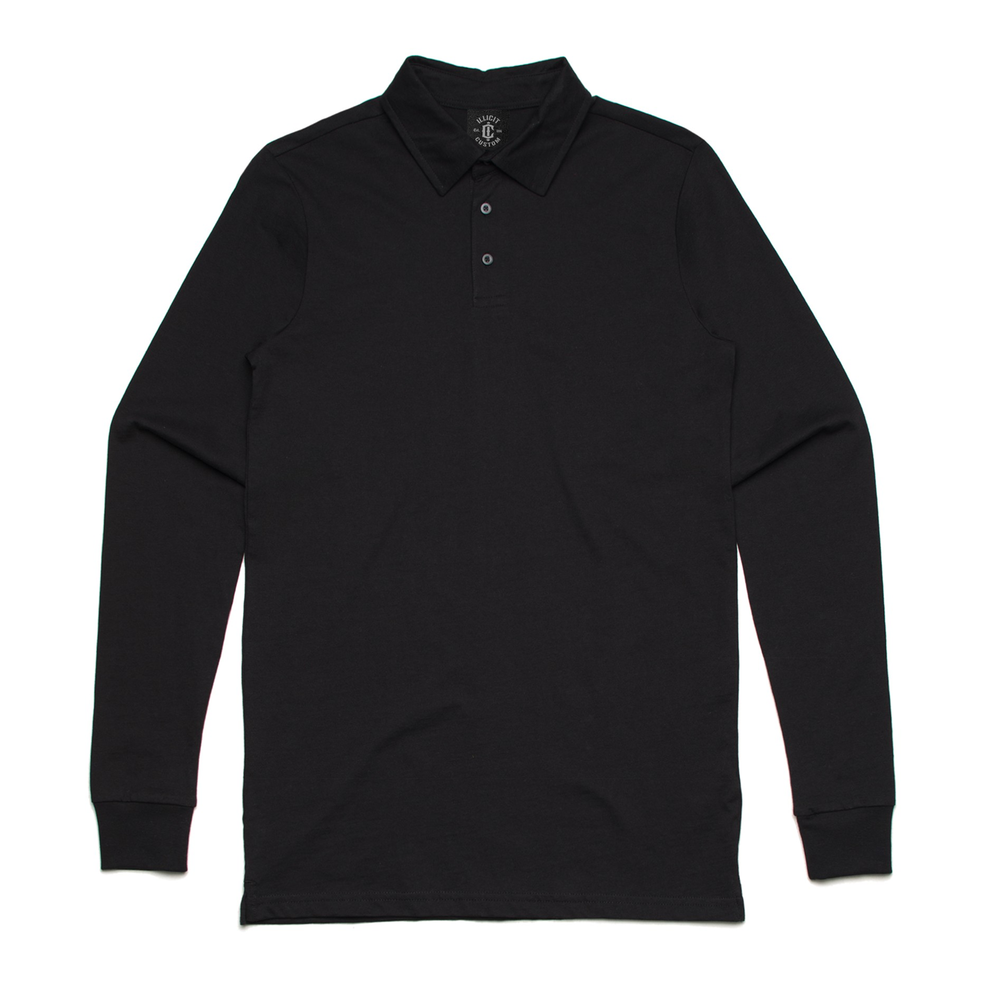 Fabric: – 100% Combed Cotton Jersey Weight: – 220 g/m2 Sizes: – S, M, L, XL, 2XL, 3XL Colours: Black, Grey Marle, Navy, White - 100% combed cotton preshrunk jersey knit (marles 15% polyester) - Long sleeve collared polo shirt - 3 Button Placket - Split side detail - Illicit Custom Label - Regular Fit