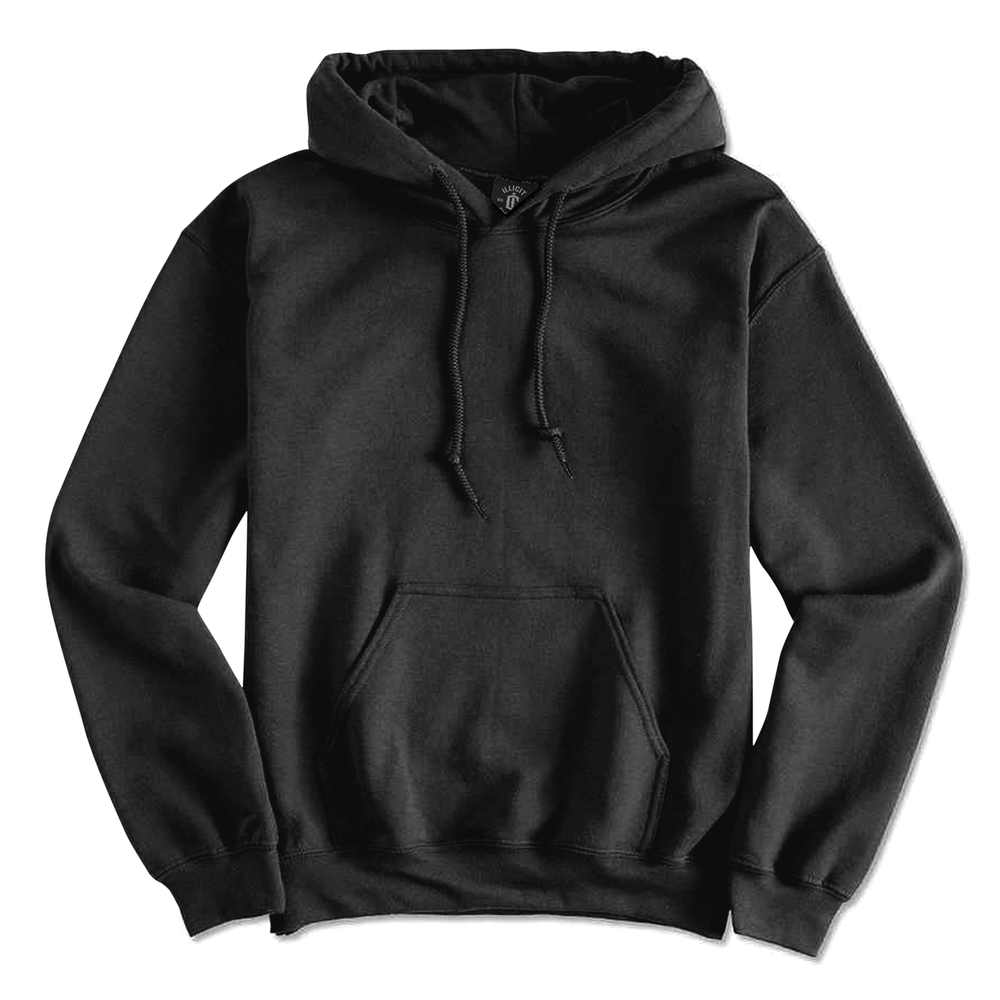 Fabric: – 50% Cotton / 50% Polyester Fleece Weight: – 279 g/m2 Sizes: – S, M, L, XL, 2XL, 3XL, 4XL, 5XL Colours: Black, Asphalt Marle,  Grey Marle, Navy, Red, Royal. - Double-lined hood with colour-matched drawcord - T1 x 1 rib with spandex - Quarter-turned to eliminate centre crease - Illicit Custom Label - Relaxed fit