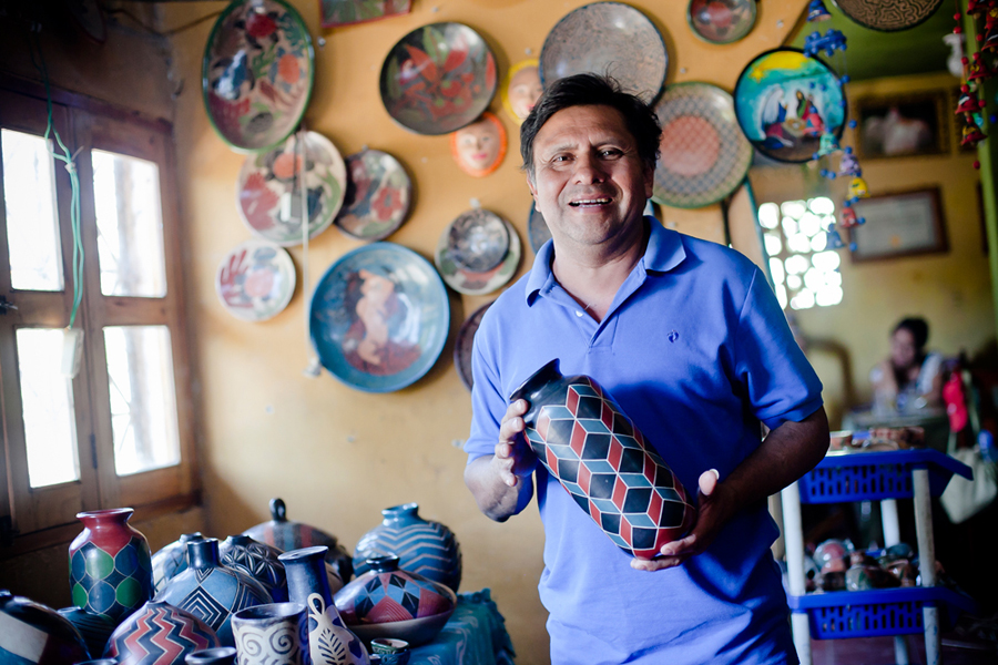 Roger's shop is full of colorful pottery pieces. His studio and shop are next to his house, which he likes because he gets to spend a lot of time with his wife, kids and grandkids.