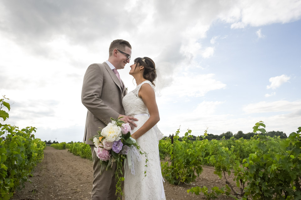Bride and Groom in a Vineyards wedding in the Eastern Township at Vignoble de l'Orpailleur