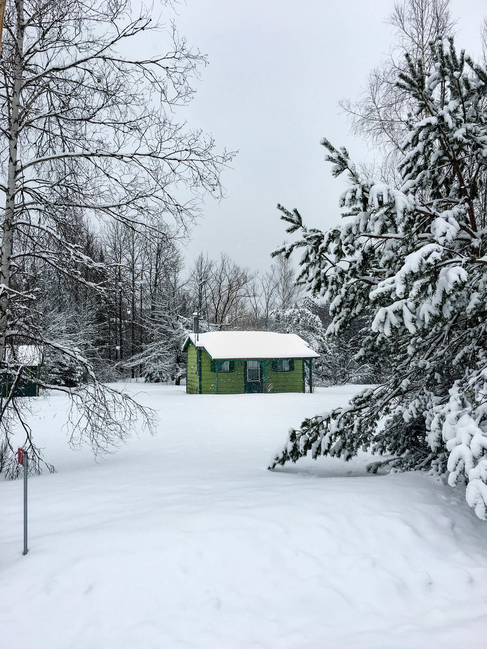 Walk in the mountains in Coaticook. There is a small green cabin in the middle of the forest with snow
