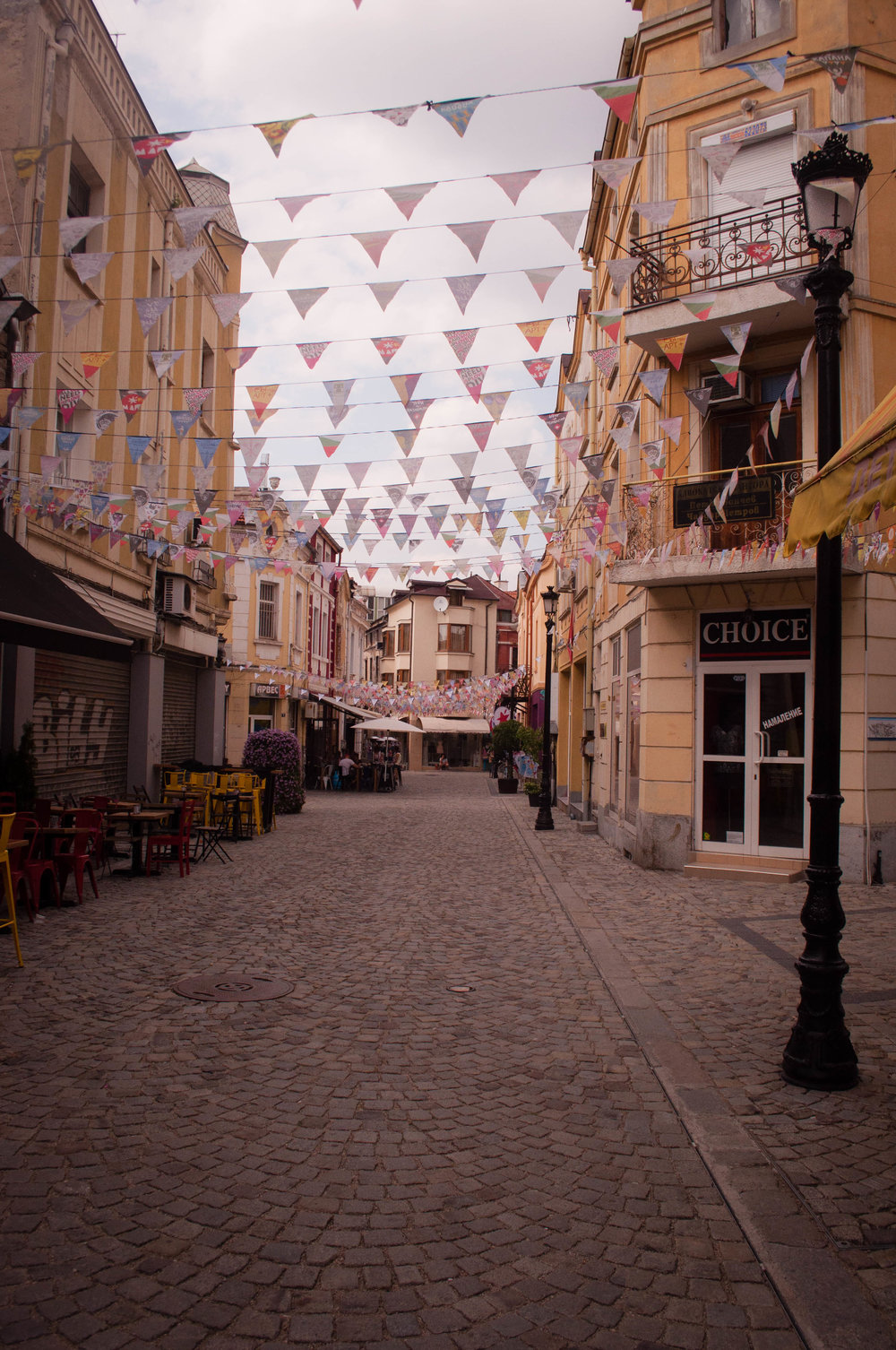 Things to do in Plovdiv, Street in Kapana,  Ploviv (Bulgaria) with streamers and graffiti.