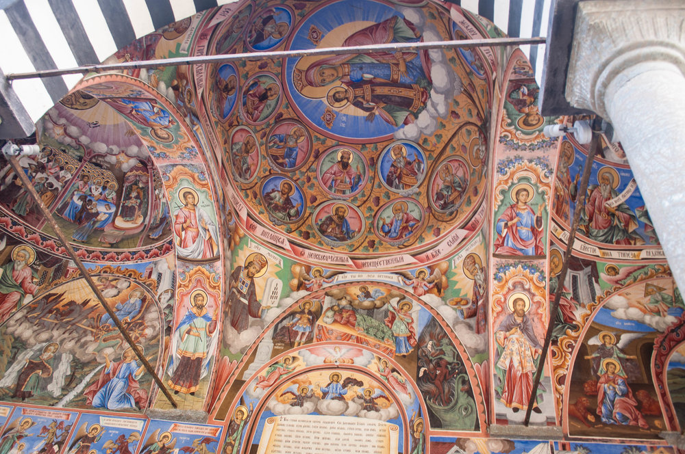 Rila monastery frescoes is a UNESCO World Heritage Site, this is a must-see in any Road trip Bulgaria