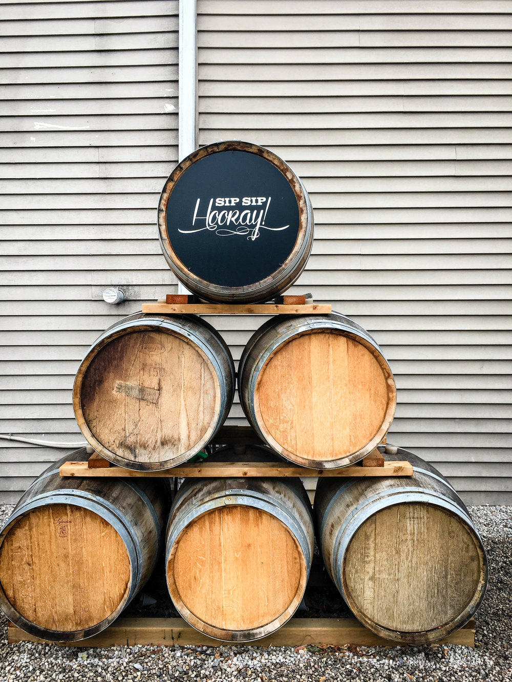 "Niagara on the Lake wine barrels with ""Hip hip hourray"" engravings"
