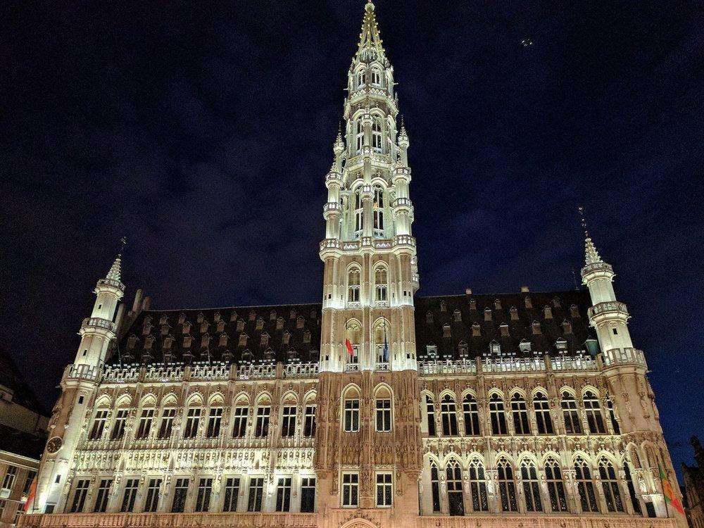 Brussels City hall building illuminated at night