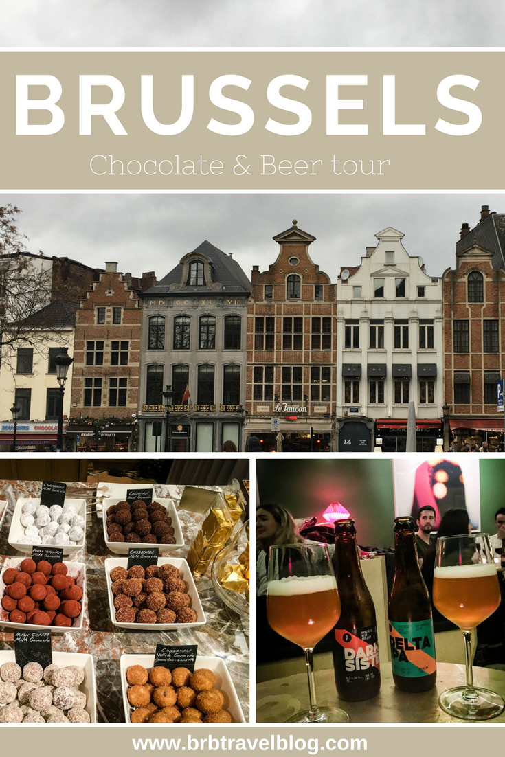 "Pinterest optimized image with the text ""Brussels Chocolate & Beer Tour"". The collage contains several Belgian chocolate and beer and buildings from the city center"