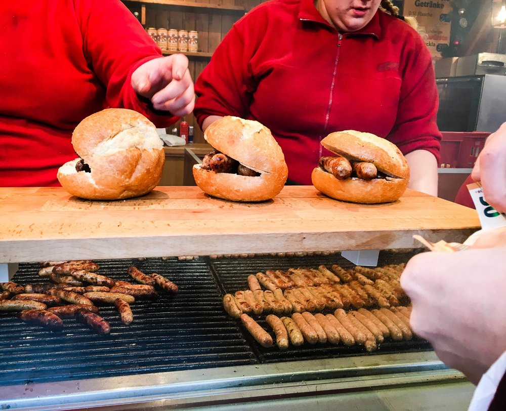 Nuremberg grilled Sausages stand in the Nuremberg Christmas market. The sausages are of the specialties' to eat in the market