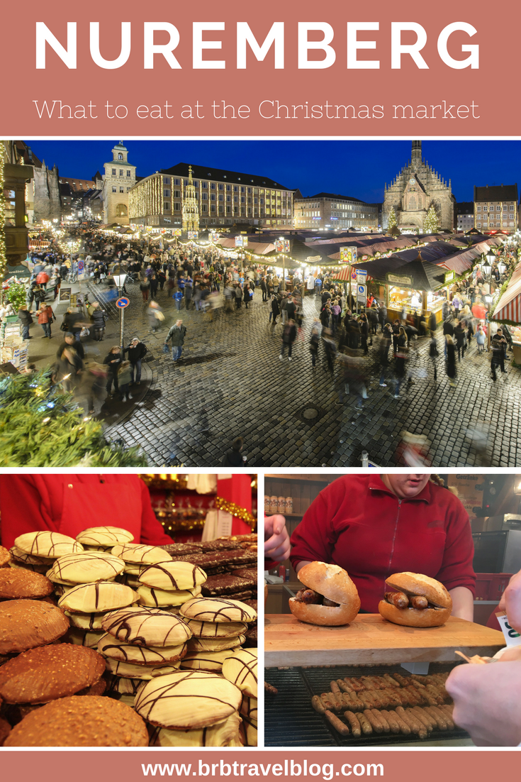 "Optimized image for Pinterest with the text ""What to eat at the Nuremberg Christmas Market ?"" with pictures of the different specialties to eat during the market"