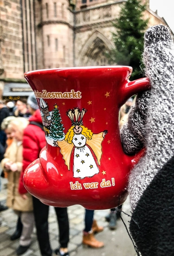 Mulled wine cup of the Nuremberg Christmas market. The wine is one of the specialties' to eat in the market
