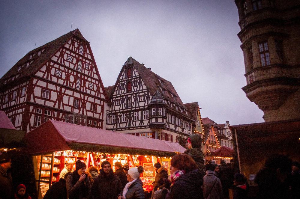things to do in Rothenburg ob der Tauber. Rothenburg ob der Tauber medieval buildings with the Christmas markets stands