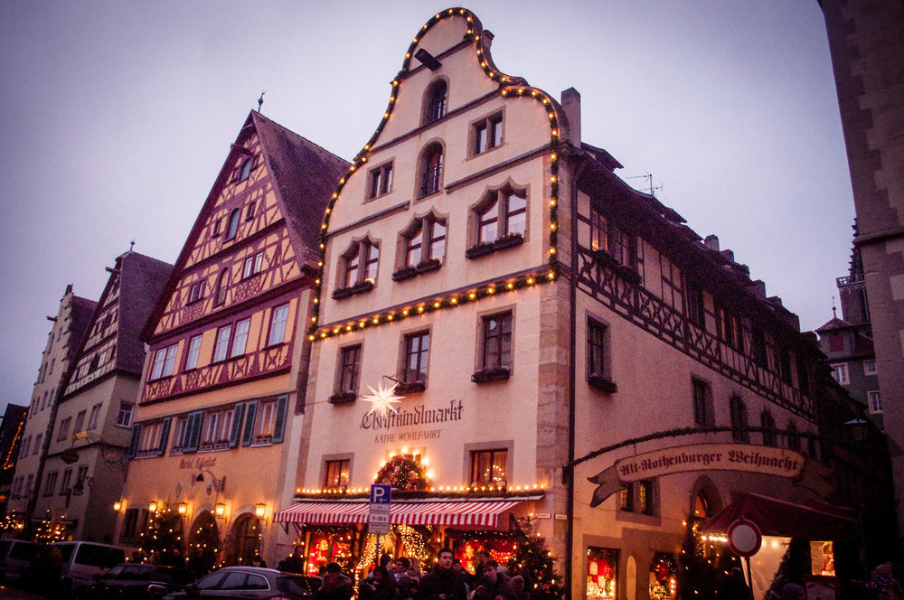 Rothenburg ob der Tauber medieval buildings with the Christmas markets stands