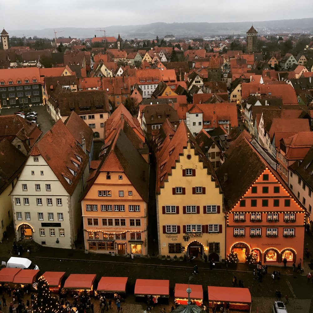 Rothenburg ob der Tauber medieval colourful buildings seen from the tower of the city hall