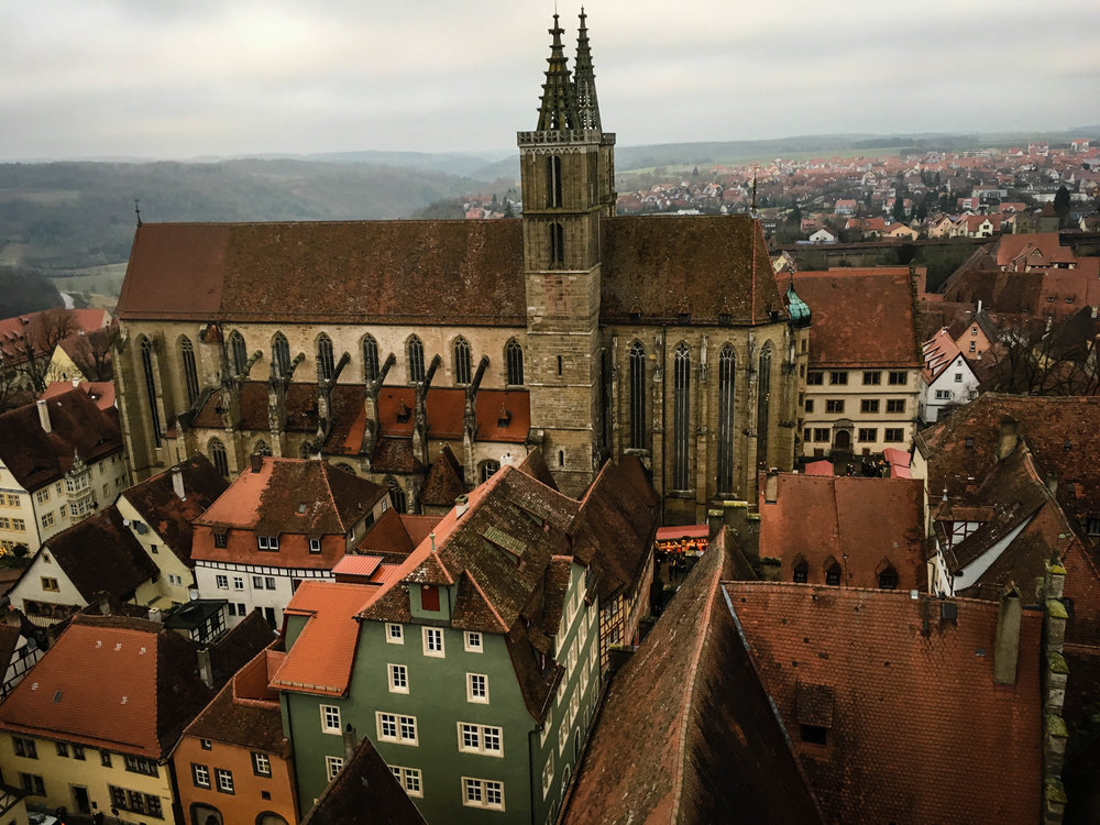 Rothenburg ob der Tauber medieval church seen from the tower of the city hall