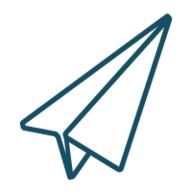 Paper plane with blue outline, part of the BRB logo. Used in the contact me