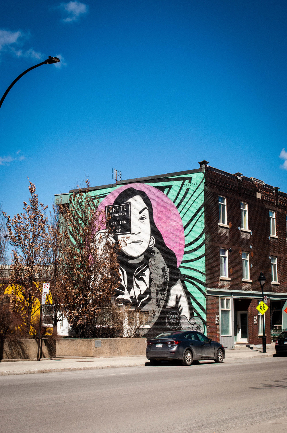 Graffiti in Saint-Henri by a Native American Artist. Graffiti proposed as the best street art in Montreal