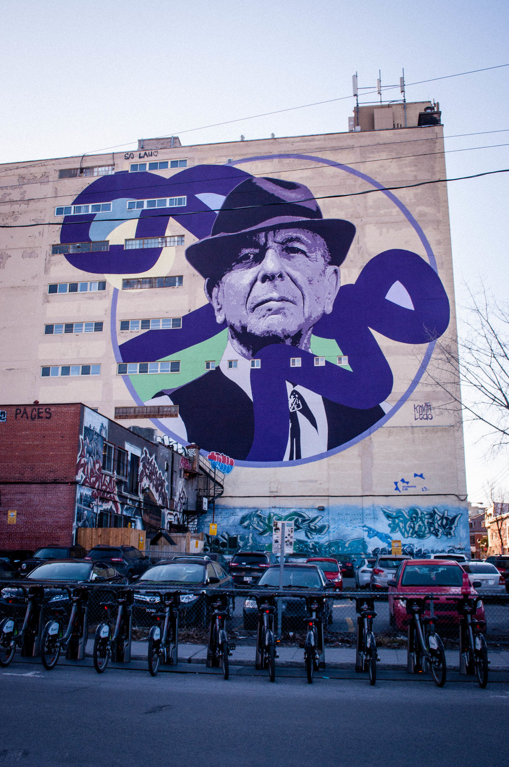 Graffiti on Boulevard Saint-Laurent (Montreal) of Leonard Cohen. Graffiti proposed as the best street art in Montreal