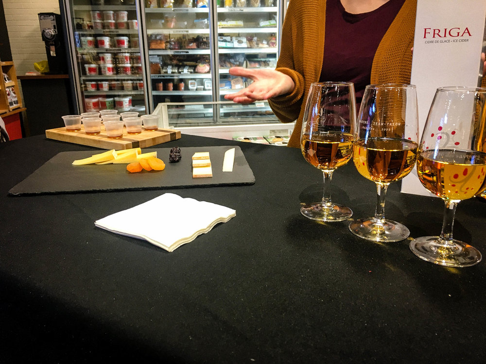 Cheese, Ice cider and maple syrup tasting from the Food Tour of Jean Talon Market