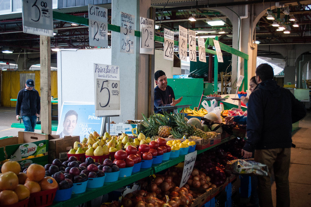 Fruit and vegetable stand in the Jean Talon Market