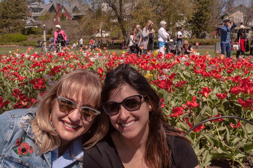 Mother and daughter in the Canadian tulip festival in Ottawa