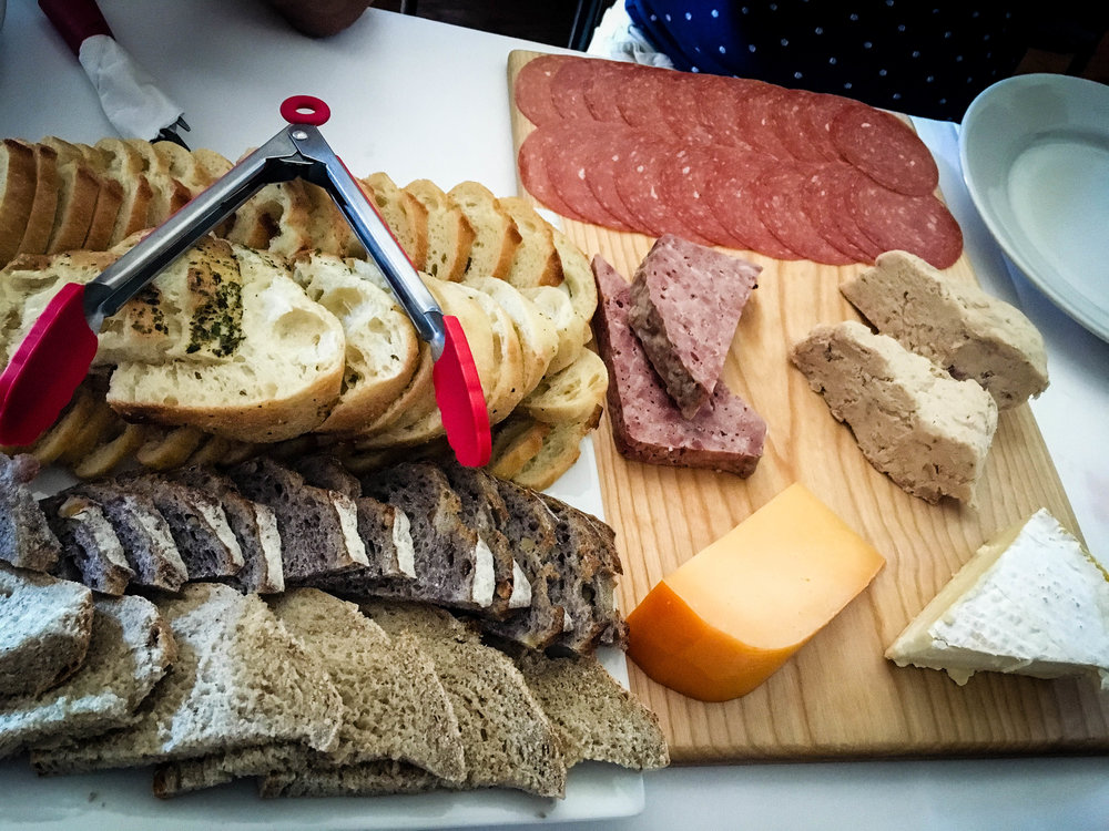 Cheese and charcuterie lunch provided by Kava Tours