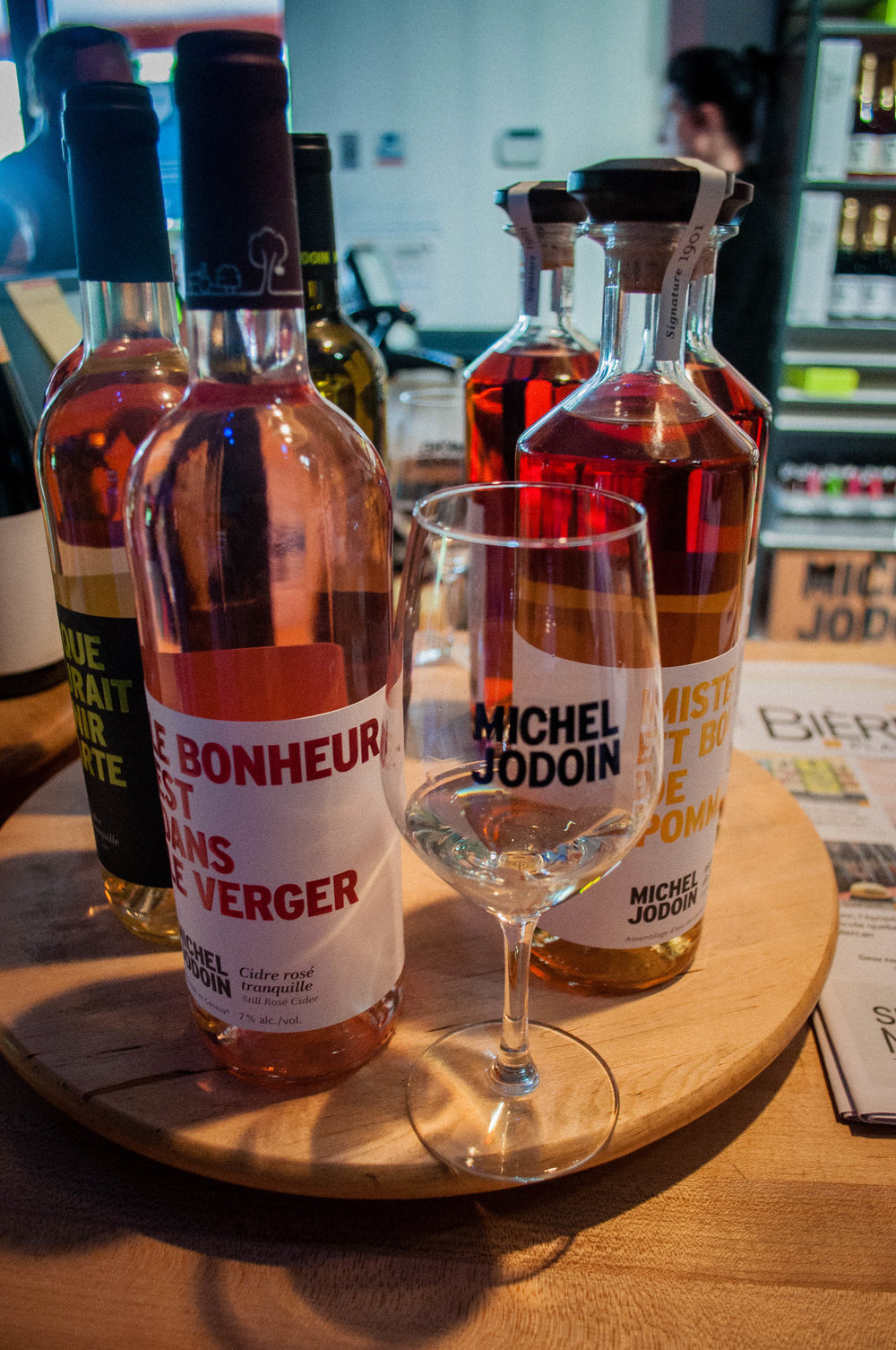 Different types of ciders offered at Michel Jodoin