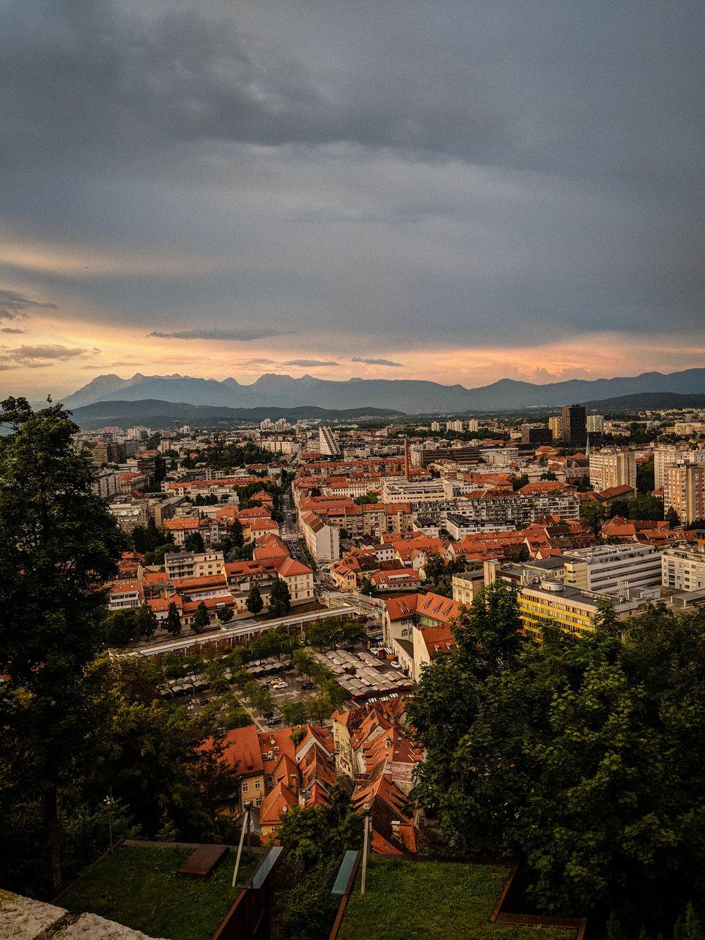 View of Ljubljana from the Ljubljana Castle Restaurant