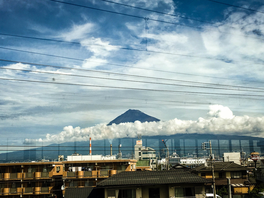 View of Mount Fuji from the train, a day trip from Tokyo