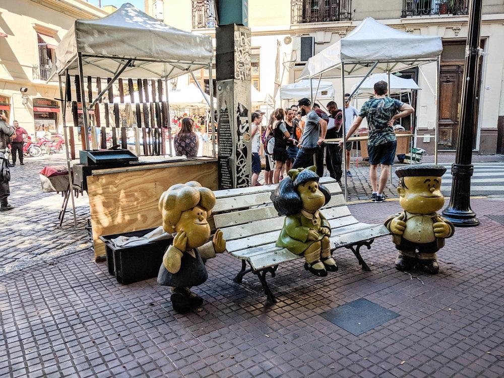 Sculpture of Mafalda in San Telmo, Buenos Aires #buenosaires #argentina #argentinatravel
