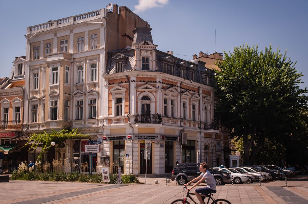 Ruse buildings with the baroque architecture style. This is a stop in our road trip Bulgaria