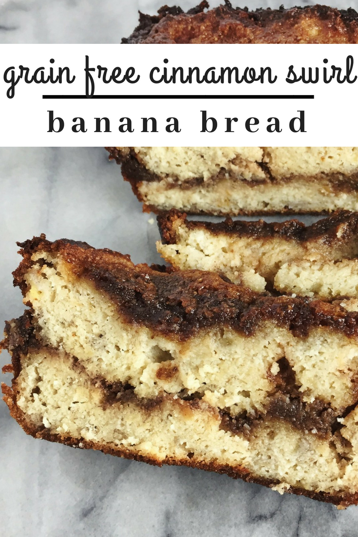 cinnamon swirl banana bread is grain free, dairy free and made with natural sugars. The caramelized top is dreamy and is perfect with a fresh cup of coffee.
