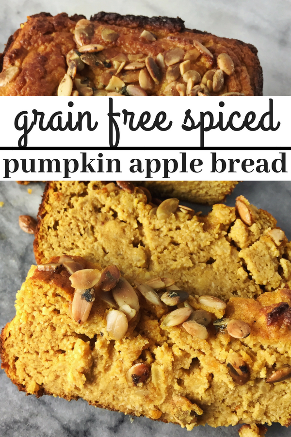 Grain free spiced pumpkin and apple bread is the perfect bite of fall. Dairy free and grain free it is the perfect addition to your thanksgiving dessert table.
