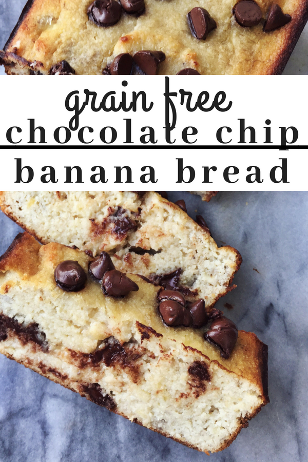 Grain free chocolate chip banana bread. The easiest recipe for moist grain free and dairy free banana bread. When the universe provides you with perfectly ripe bananas, you make banana bread.