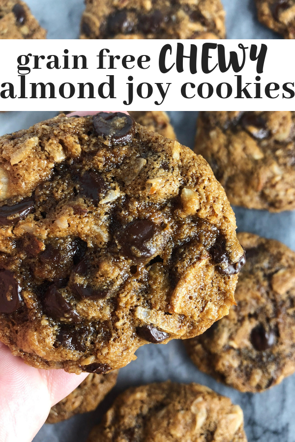 Grain free almond joy cookies are the perfect chewy chocolate chip cookie that reminds me of an almond joy bar, but with paleo ingredients. Made with almond flour and natural sugars.