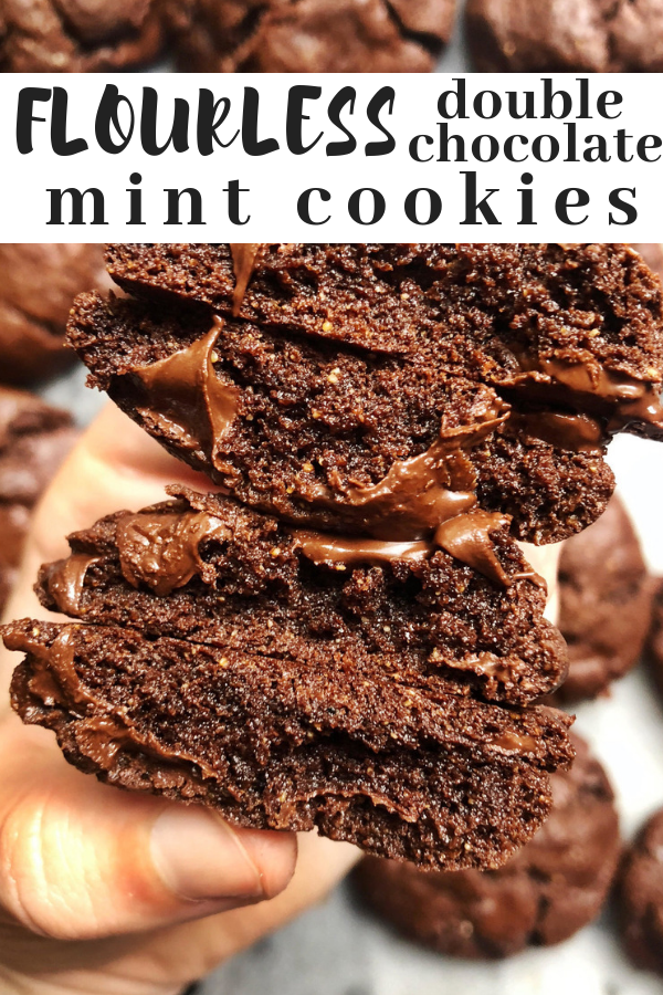 Flourless double chocolate mint cookies made with cashew butter, two types of chocolate and peppermint essential oil. These decadent paleo chocolate cookies are fluffy and chewy at the ssame time they are like a flourless cookie version of  a thin mint.