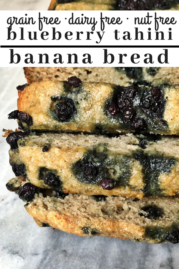 Paleo friendly blueberry tahini banana bread that is a grain free, dairy free and nut free treat.  This banana bread is slightly sweet and is the perfect breakfast bread with a cup of coffee.