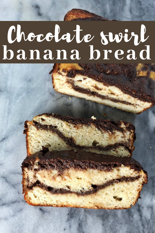 This grain free chocolate swirl banana bread is super moist and decadent, but made with whole paleo friendly ingredients including collagen for an extra boost of protein.