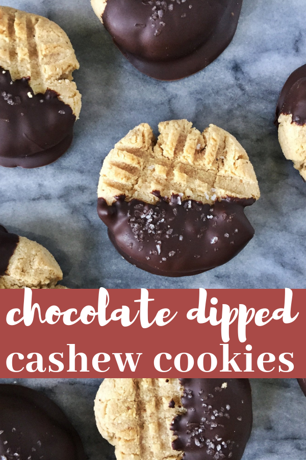 Grain free chocolate dipped cashew butter cookies are a delicious satisfying salty sweet paleo cookie.
