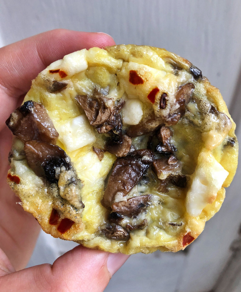 Mushroom and feta baked egg cups made with 5 simple ingredients and are perfect for a breakfast meal prep. You can prep this simple breakfast on Sunday and enjoy it all week!