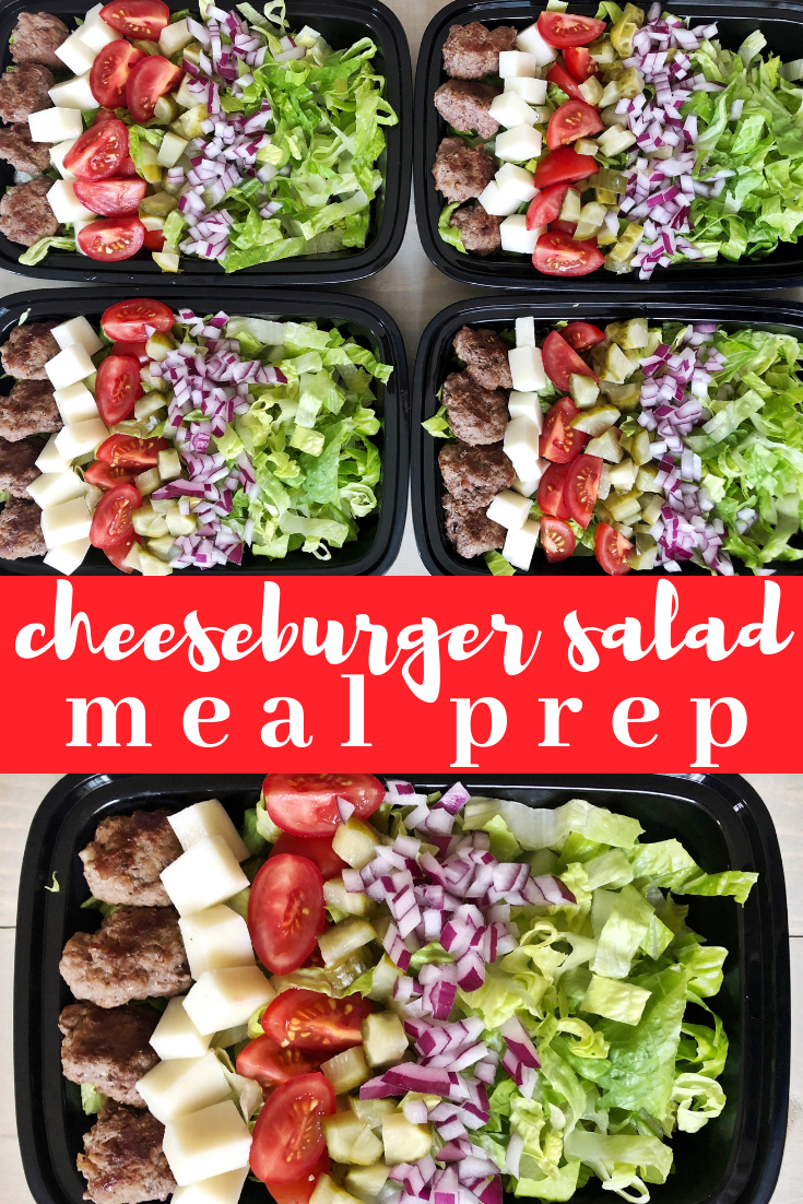 Cheeseburger salad meal prep. All the flavors of a delicious cheeseburger made into a salad form that you can use for a low carb meal prep option.