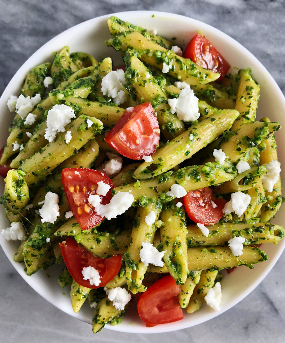 The easiest kale pesto recipe that you can make from super simple ingredients in very little time. You will want to eat this pesto on everything: chicken, pasta, potatoes etc.