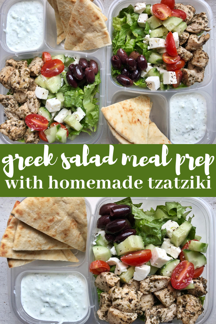 Add this greek salad meal prep with homemade tzatziki to your meal prep rotation. It is delicious, simple and satisfying lunch option that will help you look forward to your packed lunch!