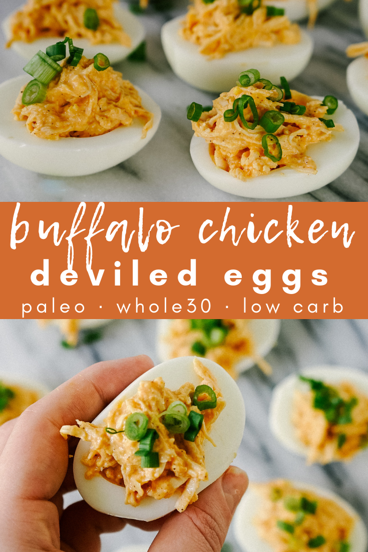 This appetizer, snack, anytime recipe came to me by putting together 2 of my favorite snacks: buffalo chicken dip and deviled eggs. These buffalo chicken deviled eggs are the perfect addition to your paleo, whole30 or low carb meal prep
