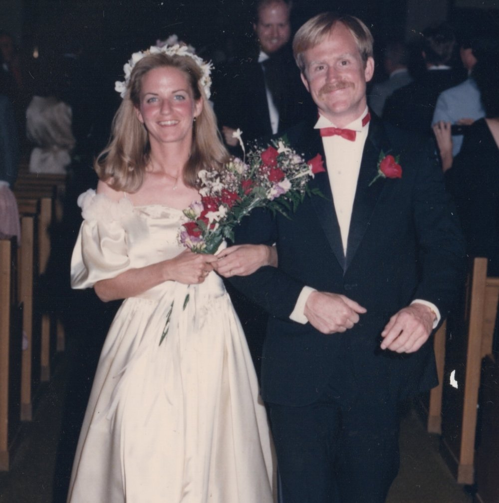 -  Here are Chelsea's parents Jean and Walter on their wedding day in 1986.After two weddings, the dress was done. That and the fact that Chelsea was too tall for it. (And not being Chelsea's style!)So I had the nerve to suggest I cut up the dress and dye it to make ribbons for Chelsea's wedding. Where do I come up with this crazy stuff??