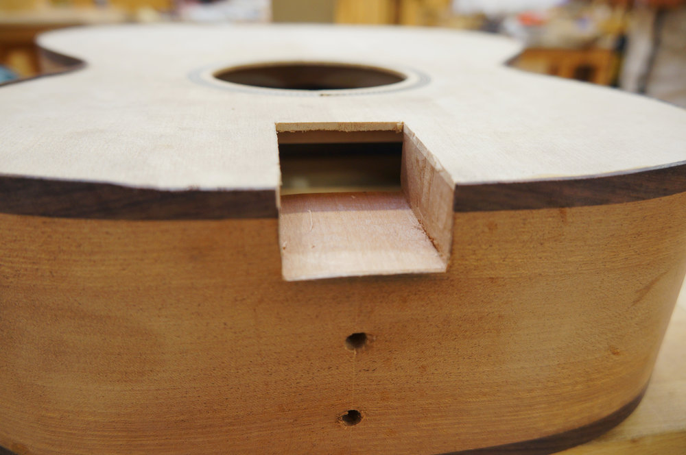 showing holes for neck bolts and mortise for neck tenon.JPG