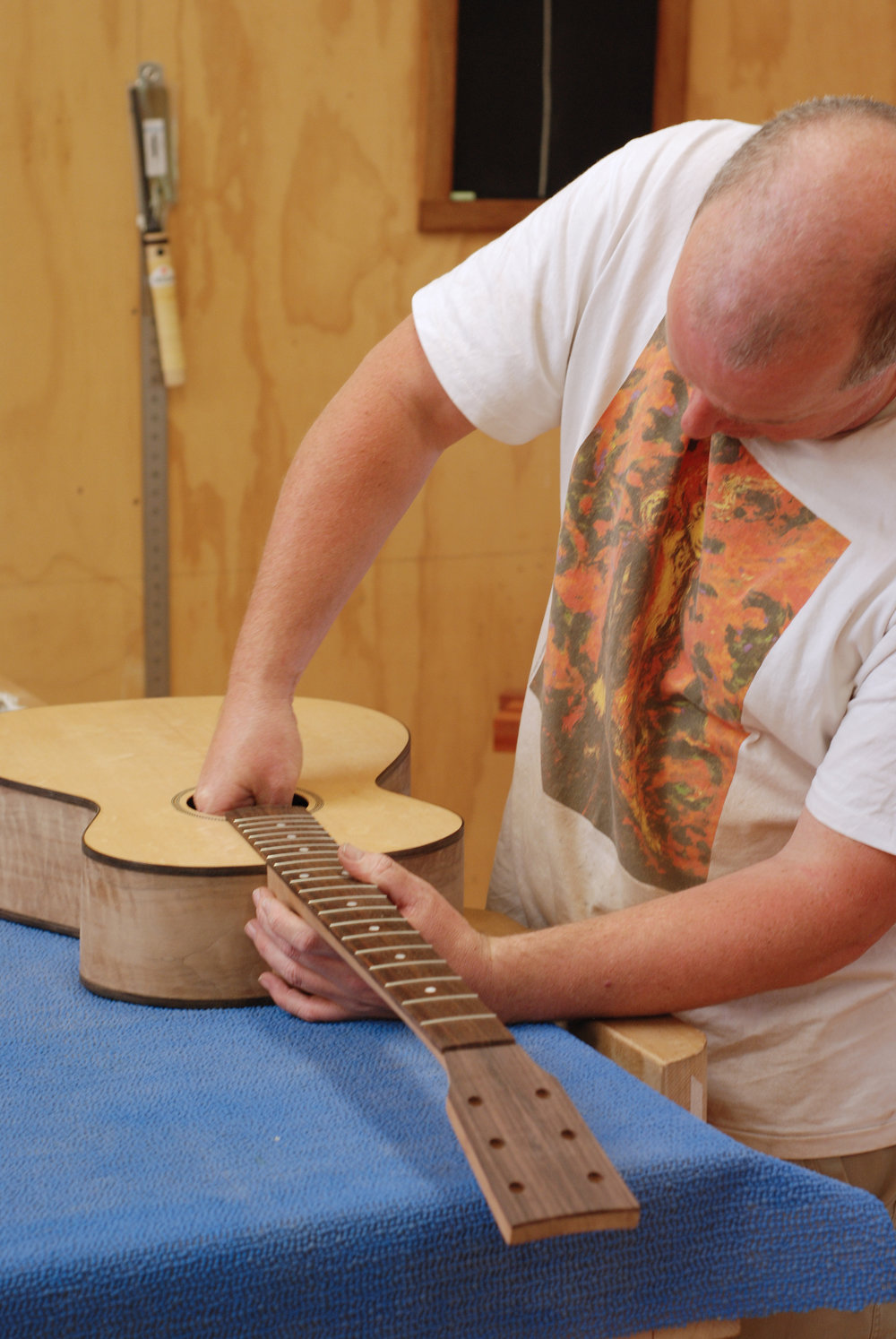neck test fit doing bolts up through soundhole.JPG