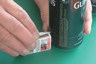 Scribe the bottom of the can around 30mm up. A matchbox comes in handy