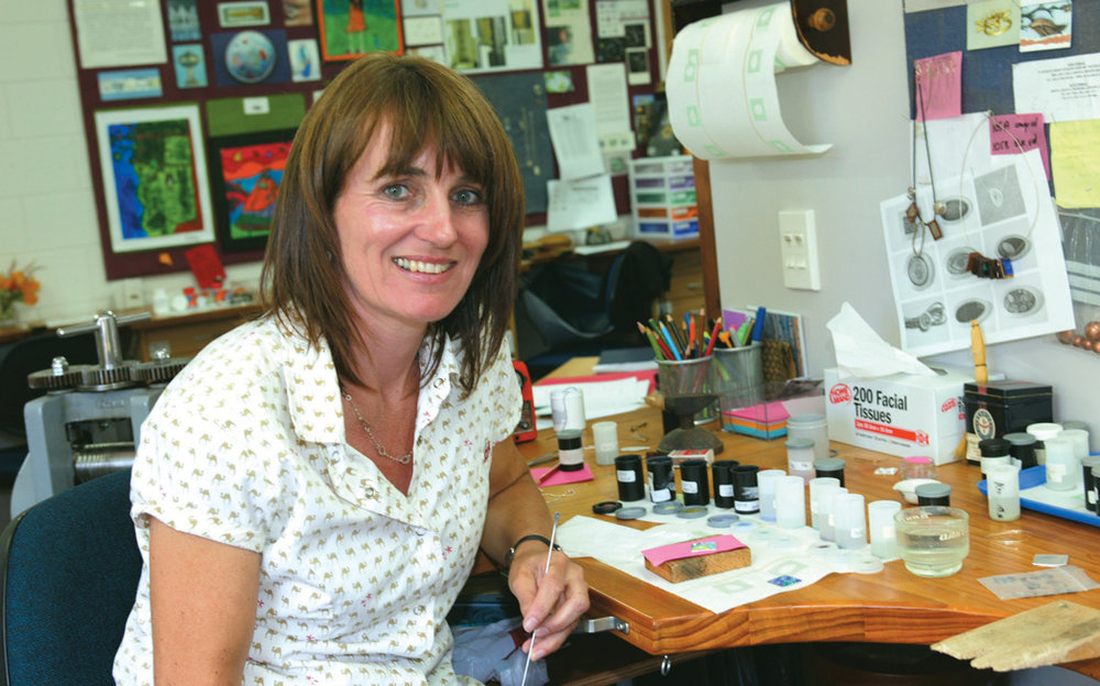 Sally Laing in her studio