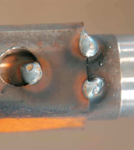 Stub axle tack - welded in place