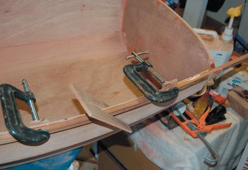 Ceder strip gunwale stiffens shape